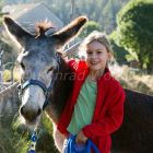 girl with donkey, donkey hiking in the Cevennes, France