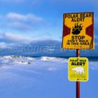 Polar Bear Alert warning sign, Ursus maritimus, Churchill, Manitoba, Canada