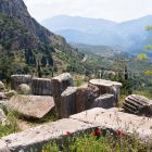 Column pieces in ancient Delphi, Greece, Europe
