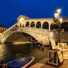 The Grand Canal with Rialto bridge at dusk, Venice, Italy, Europe