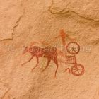 Prehistoric Rock Art, Garamants, chariot, Awis Valley, Akakus mountains, Libya, Sahara, North Africa
