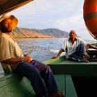 Boat trip on Lake Tanganjika, Mahale Mountains National Park, Tanzania, East Africa